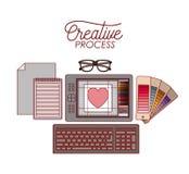 创造性的过程的集合工作元素与键盘的图形设计五颜六色的剪影的在白色背景 库存例证