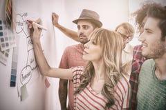 创造性的队观看的工友补充说到流程图 免版税库存图片