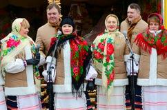 创造性的集体,戈梅利,白俄罗斯表现在Shrovetide庆祝期间的 免版税图库摄影