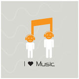 创造性的音乐笔记标志象和剪影人标志 mus 免版税库存照片