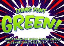 创造性的高细节可笑的字体 仿照漫画样式的字母表,流行艺术 信件和图孩子的装饰的 免版税库存图片