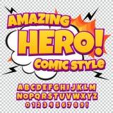 创造性的高细节可笑的字体 仿照漫画样式的字母表,流行艺术 免版税图库摄影