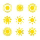 创造性的黄色太阳象设计收藏 图库摄影