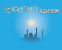 创造性的贺卡设计为圣洁月回教社区日有月亮和垂悬的灯笼的赖买丹月Kareem 图库摄影