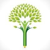 创造性的绿色铅笔树设计 向量例证