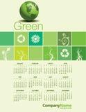 创造性的绿色2014日历 免版税库存图片