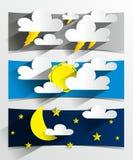 创造性的3D动画片天气横幅 免版税库存照片