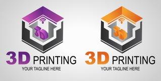 创造性的3D印刷品商标或标志,象 现代3D打印机打印 叠加性制造业 向量例证