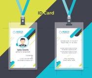 创造性的ID卡片蓝色黄色颜色 免版税库存照片