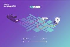 创造性的ui ux设计驾驶infographic的app 也corel凹道例证向量 库存例证