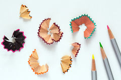创造性颜色铅笔和木片的概念图象 免版税图库摄影