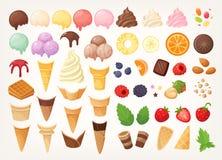 创造您自己的冰淇淋的元素 冰锥体、杯子、瓢和顶部 皇族释放例证