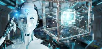创造未来技术结构3D翻译的白色机器人 库存图片