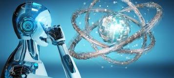 创造未来技术结构3D翻译的白色机器人 图库摄影