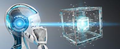 创造未来技术结构3D翻译的白色机器人 库存照片