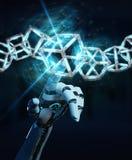 创造未来技术结构3D renderi的白色机器人手 免版税库存照片