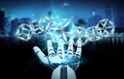 创造未来技术结构3D renderi的白色机器人手 免版税库存图片
