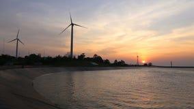 创造绿色能量的风轮机用水库 股票视频