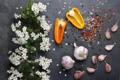 初夏白花开花用桃红色大蒜和喜马拉雅岩盐和黄色胡椒 库存照片