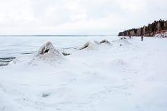 初期冬天,结冰新西伯利亚r的Ob 免版税库存图片