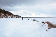 初期冬天,结冰新西伯利亚r的Ob 免版税库存照片