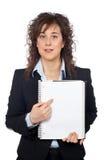 删去显示妇女的企业页 免版税库存图片