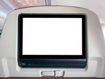 删去飞行中娱乐屏幕,在飞机的空白的LCD屏幕 免版税库存照片