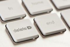 删除在一个白色和灰色键盘的按钮 库存图片