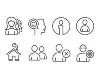 删除headhunting象的用户、用户和妇女 作家、具体化和工程师标志 库存照片