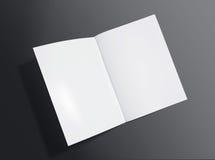 删去在黑暗的背景的被打开的小册子 库存照片