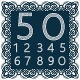 删去的数字模板 为激光切口使用 花梢鞋带数字 字体被隔绝的蓝色背景 一套标志 皇族释放例证