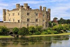 利兹中世纪城堡,在肯特,英国,英国 免版税库存照片