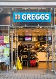 利兹,英国- 2015年12月8日 Greggs plc面包店商店在利兹 免版税库存图片
