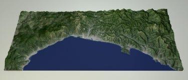 利古里亚海岸的卫星看法,热那亚,意大利 免版税库存图片