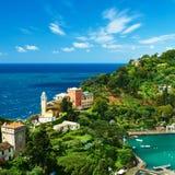 利古里亚海岸的,意大利菲诺港村庄 图库摄影