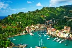 利古里亚海岸的,意大利Portofino村庄 免版税库存照片