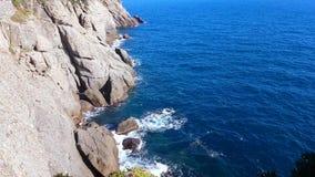 利古里亚海的峭壁在菲诺港 股票视频