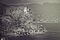 利古里亚海的意大利海岸 意大利portofino 免版税库存照片