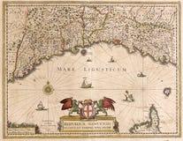利古里亚,意大利的老地图 免版税库存图片
