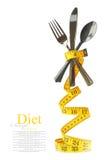 利器集合代表的平衡饮食用测量的磁带 库存照片
