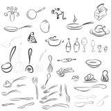 利器,餐具 匙子,叉子,刀子,杓子,罐,平底锅 库存照片