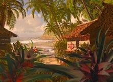 玻利尼西亚海滩小屋 库存照片
