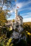 利希滕斯泰因城堡德国欧洲全景 免版税库存照片