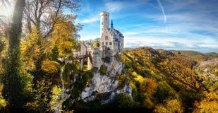 利希滕斯泰因城堡德国欧洲全景 库存图片