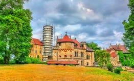 利希滕斯泰因城堡看法在巴登-符腾堡州,德国 库存图片
