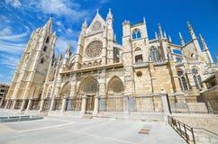 利昂大教堂,卡斯蒂利亚y利昂,西班牙 免版税库存照片