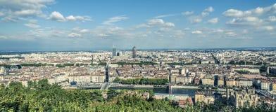 利昂法国鸟瞰图  免版税库存照片