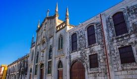 利昂,尼加拉瓜, 2018年5月, 16日:中美洲最大的大教堂的室外看法晴天和蓝天 图库摄影
