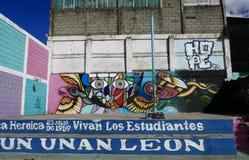 利昂,尼加拉瓜12月23日2017年:与街道画的一个篮球场在利昂 免版税图库摄影