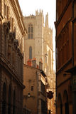 利昂,法国。 大教堂和老城市街道 库存图片